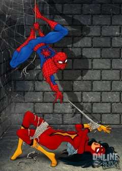 Spider and fly-girl - Nude SuperHeroes Spiderman
